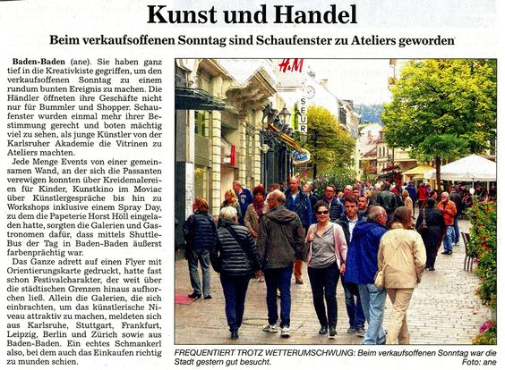 #Kunst und Handel: Beim Verkaufsoffenen Sonntag sind Schaufenster zu #Ateliers geworden  I Contemporary #Art Baden-Baden