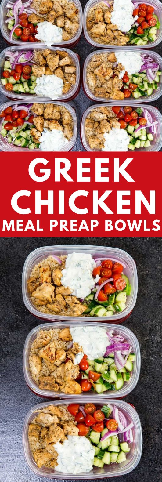 Greek Chicken Bowls (Meal Prep Easy) #Meal #Bowls