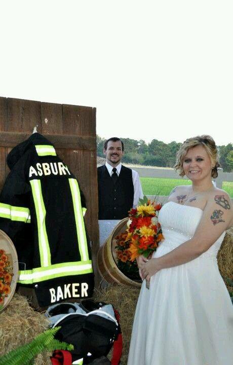 Firefighter wedding decoration