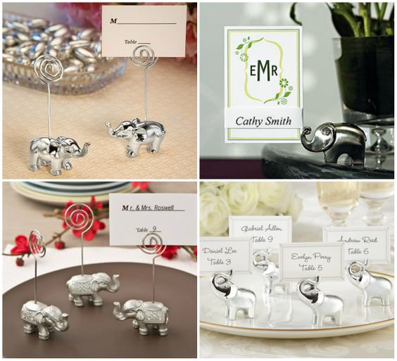 Silver Elephant Place Card Holders from HotRef