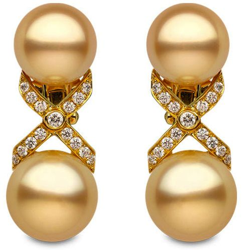 Yoko London - Empress Collection - 18k yellow gold earrings with 0.89cts. of diamonds & golden south sea pearls of 12 - 14 mm.: