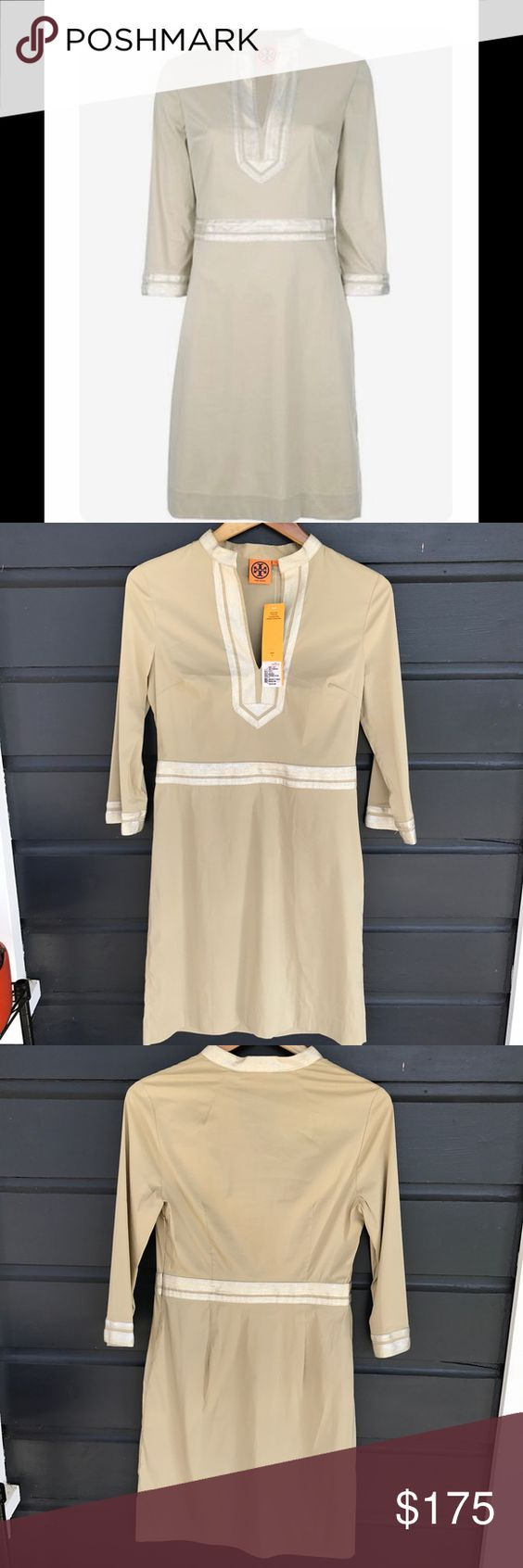Tory Burch Toteme Round Neck Jumper Tory Burch at her finest! Super elegant khaki dress with a silver trim that lays right above the knee. Three quarter sleeves adds to the modern feel of this dress. The material comprises of cotton and spandex which makes it light and stretchy. *Pristine condition. Tory Burch Dresses