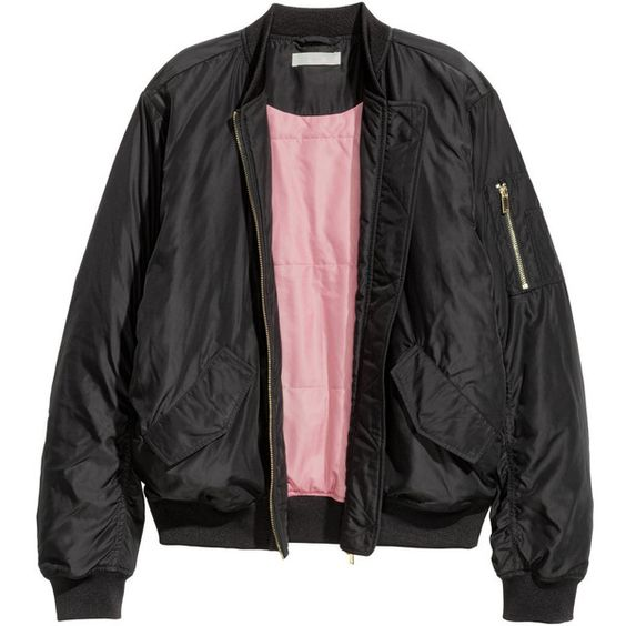H&M Bomber Jacket $24.99 (€24) ❤ liked on Polyvore featuring outerwear, jackets, tops, coats, flap jacket, zip bomber jacket, flight jacket, h&m jackets and flap pocket jacket