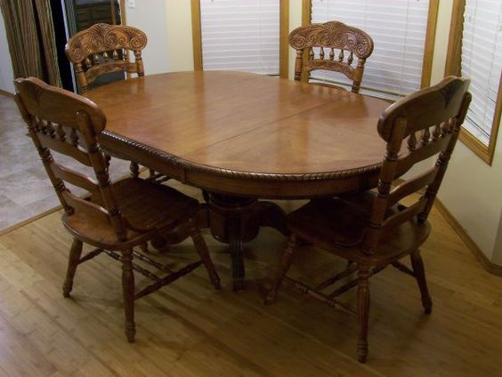 Dining table 4 chairs clearwater solid wood pedestal for 3 leaf dining room tables