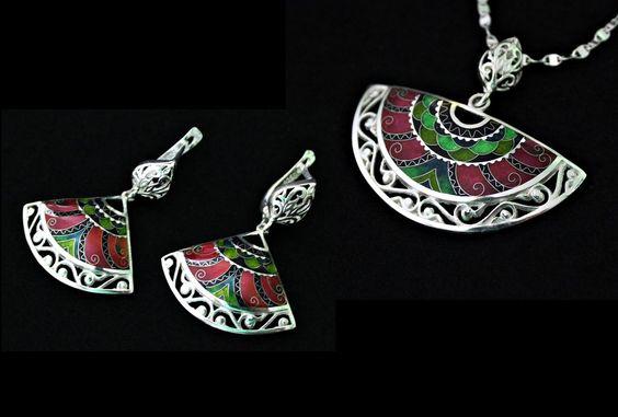 Ohrringe & Kette von Cloisonne Enamel Material: 999er,925 Silber Email, Blattsilber