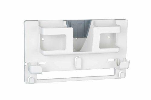 WENKO 1909792100 Bügelzubehör Organizer - Bügelbretthalterung, Wärmeschutzplatte, Kunststoff, 46 x 27 x 9.5 cm, weiß