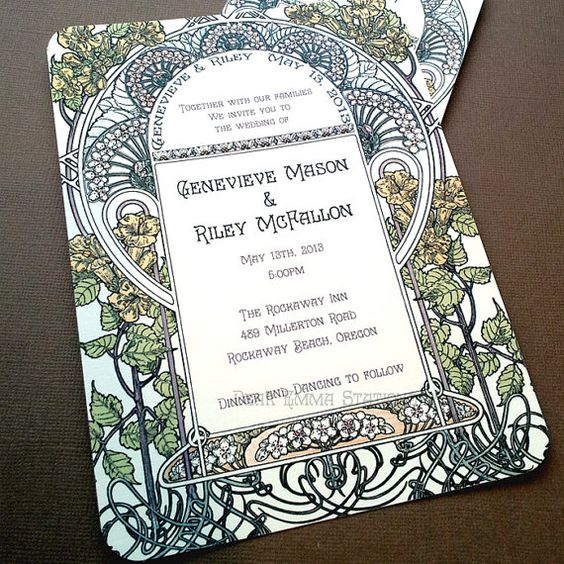 This is my new favourite invitation. Beautiful art nouveau linework and tasteful lettering!   By Dearemma @ Etsy, $2.99 each (depending on quantity)