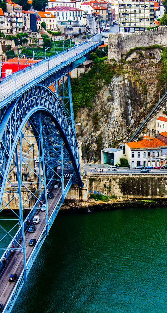 Ancient city Porto - the famous metallic Dom Luis Bridge