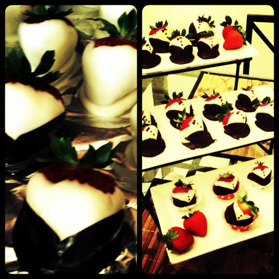 Tuxedo strawberries! Melt white chocolate using the bowling water and bowl method, and dip berries evenly. Allow to set in fridge. Melt dark chocolate the same way, and dip strawberries at an angle on each side to make a V. Using a toothpick, dip in dark chocolate and decorate with buttons, and even a bow tie!!