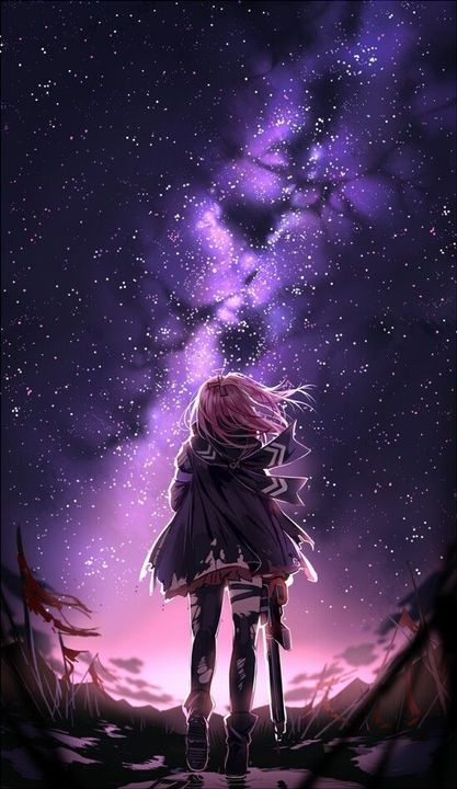 Download wallpaper anime ungu