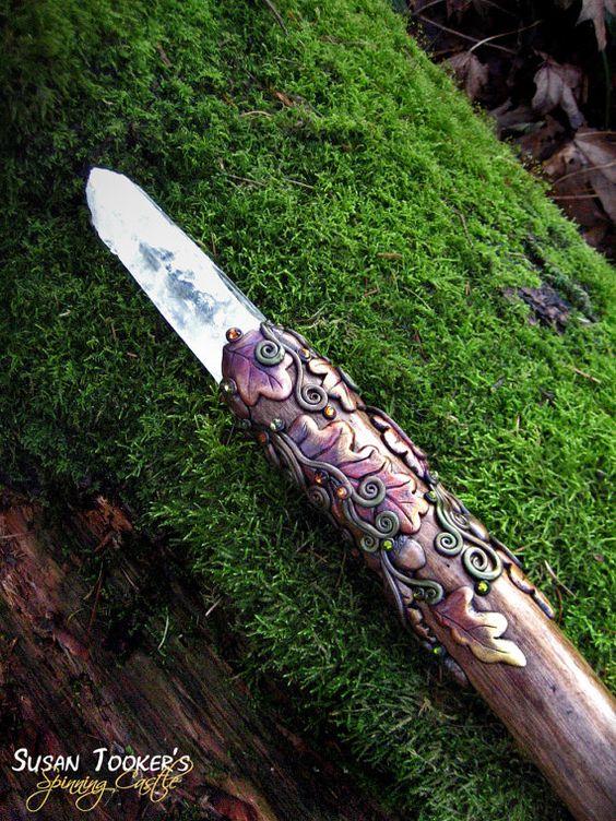 Magic Crystal Staff Oak Leaves Acorns Celtic Spirals Druid