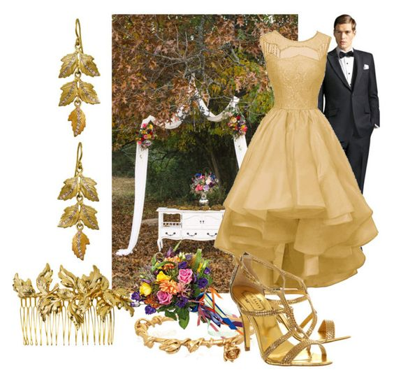 """Soft gold autumn wedding"" by wickedangel ❤ liked on Polyvore featuring Paul Frank, Ellen Hunter, Aurélie Bidermann and Ted Baker"