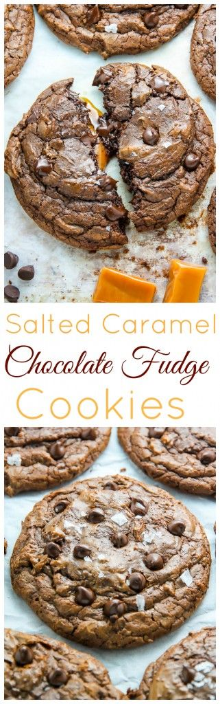 Soft Batch Chocolate Fudge Cookies with a gooey pocket of salted caramel inside! Pure decadence.