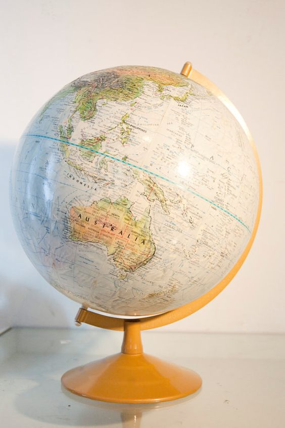 Vintage Replogle Baby Blue and Green World Globe with by daindain, $52.00