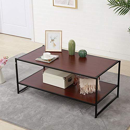 Zipperl Coffee Table With Storage Shelf Wood Metal Legs