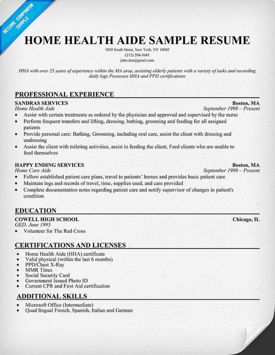 Home Health Aide Resume Example HttpResumecompanionCom