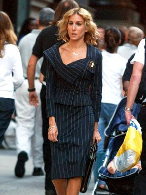 Sarah Jessica Parker | Miss Bradshaw suits up in gorgeous pinstripe for her first day at Vogue .