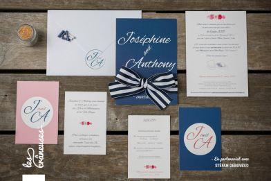 faire part de mariage bleu marine marin wedding invitation navy r alis par made by les. Black Bedroom Furniture Sets. Home Design Ideas
