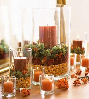 Simple Thanksgiving Candle Displays.  Use lentils, corn, rice, acorns, unshelled nuts, etc to suit your fancy