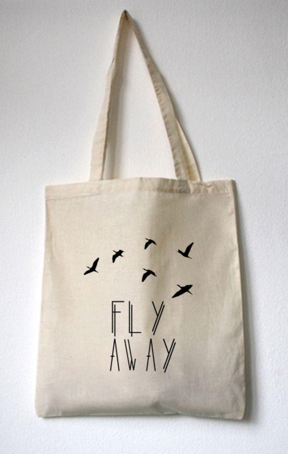 "Jutebeutel ""Fly Away"" // tote bag by WalkTheDawg via DaWanda.com"