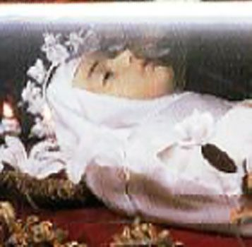 Blessed Imelda Lambertini: A favorite of First Communion children.  Her incorrupt body can be seen at the Church of St. Sigismund.  Read her great story...