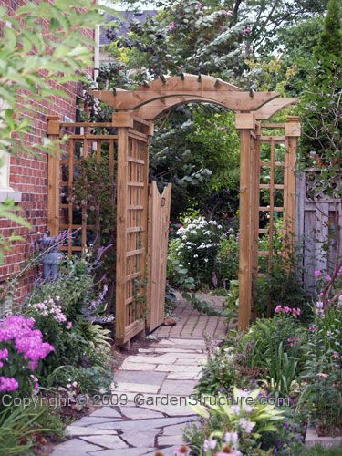 Arbors arbor gate and gates on pinterest for Wooden garden gate plans and designs