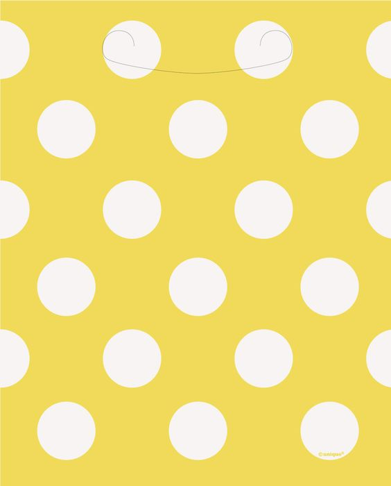 Yellow and white polka dot paper loot bags.  Paper loot bags are a classic item for any party.  Perfect for almost all ages, loot bags are great for gifts, favors, prizes, and much more.  With cut out handle.  Polka dots are very popular and are a classic pattern that has been around for many years.  Check out our huge selection of yellow and white polka dot items