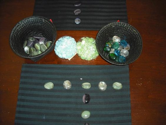 "Placemats, baskets & jewels & stones of different colours ("",)"