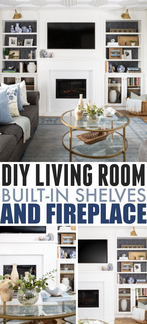 Diy Living Room Built In Shelves And Fireplace The Creek Line House Living Room Diy Living Room Built In Living Room Built In Shelves