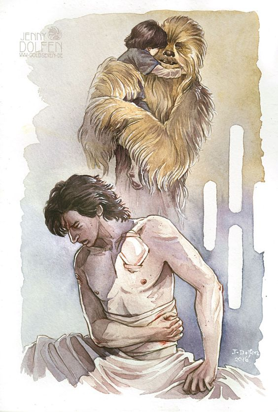"Kylo Ren remembering Chewie. Or trying not to. Just as he calls his father ""Han Solo"" to avoid any emotional ties to him, I imagine he avoids thinking of Chewie as anything than in terms of ""that h..."