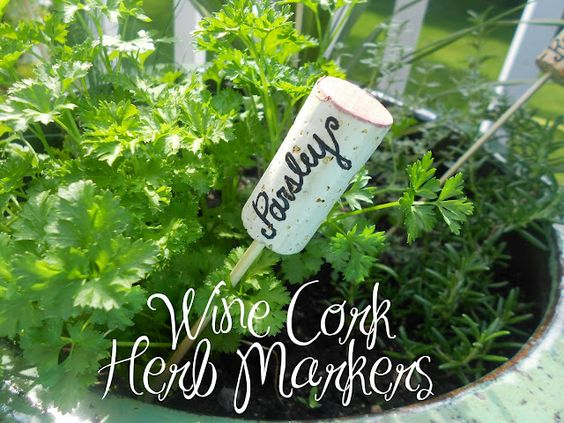 Wine cork Herb Markers- Good call!!