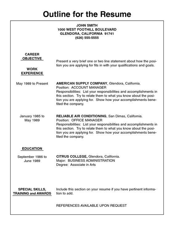Fine Writing A Resume Outline Gallery - Resume Ideas - namanasa.com