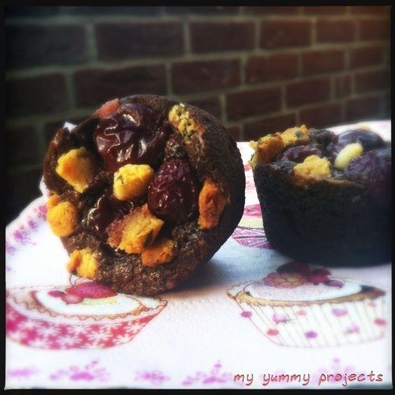 Schoko-Kirsch-Muffins mit Thymian,  Chocolate-cherry-muffins with thyme, myyummyprojects foodblog