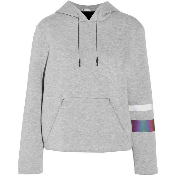 T by Alexander Wang Neoprene-jersey hooded top ($180) ❤ liked on Polyvore featuring tops, hoodies, grey, jersey top, grey hoodies, t by alexander wang, hooded top and gray top