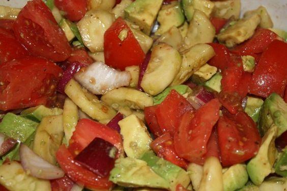 Cucumber, tomato & avocado salad - best side dish:):