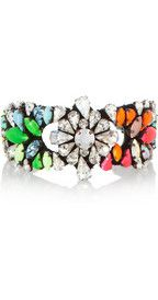 ShouroukSilver-plated Swarovski crystal cuff