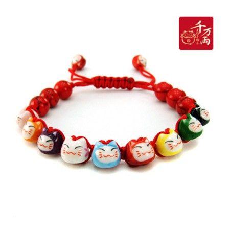 Bracelet Chats Porte Bonheur Maneki Neko (17 perles) - Rouge