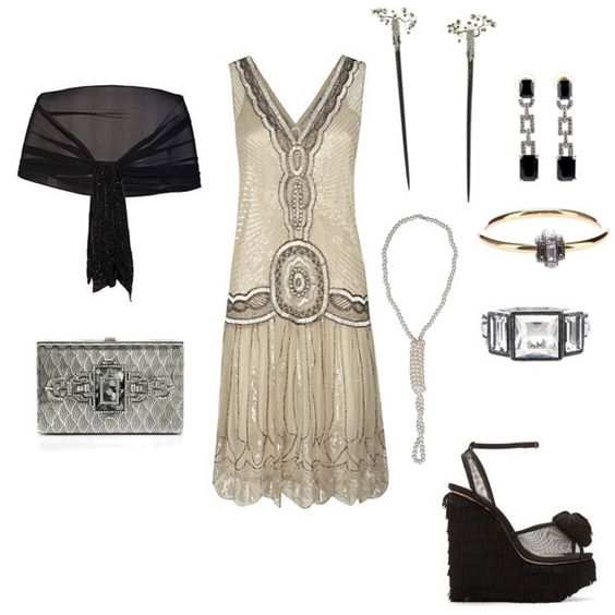 Jazzily dazzling entry in the Roaring '20s mission. Cool hair sticks! #fashion #contest #outfit #gatsby