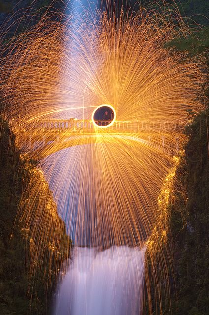 Wool Spin At Multnomah Falls by Christopher Renfro
