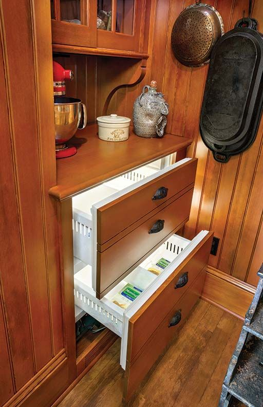 Freezer drawers integrated into the dry goods pantry. A Period-Perfect Victorian Kitchen - Old-House Online - Old-House Online