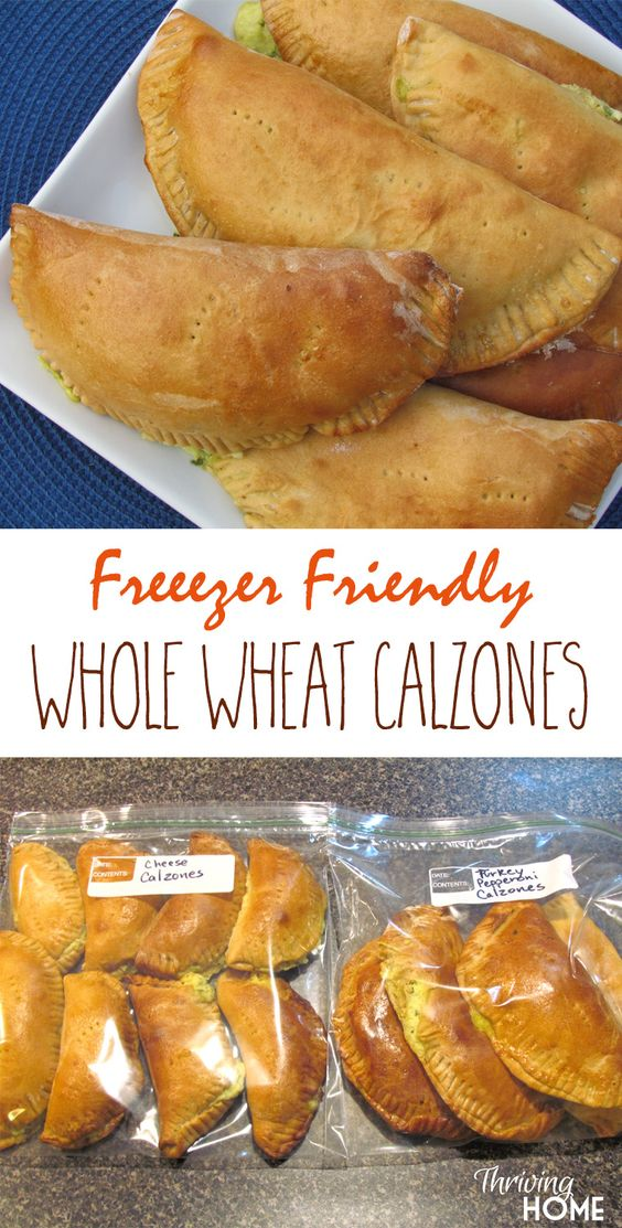 Freezer-Friendly Whole Wheat Calzones Recipe via Thriving Home - These are DELICIOUS and perfect for a quick lunch or dinner. One of our favorite recipes ever!