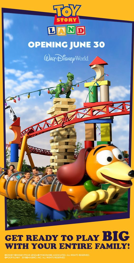 Get ready for something big! Opening June 30, step into Toy Story Land and play bigger than humanly possible. Shrink down to the size of a toy alongside Woody, Buzz Lightyear and the rest of the Toy Story gang. The new Slinky Dog Dash coaster stretches throughout the land, twisting Slinky Dog's coils around curves, hills, bridges.