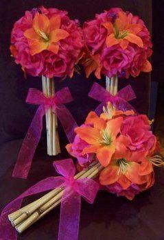 Flowers, Pink, Bouquet, Ceremony, Orange, Wedding, Bridesmaids
