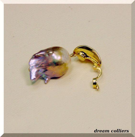Perlenanhänger - riesige Barockperle - Clip zum einhängen - ein Designerstück von Dream-Colliers bei DaWanda