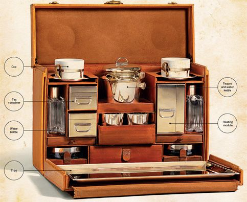 """I want a traveling tea set!!! """"In 1930, Louis Vuitton delivered its version of this tea case, an elegant and practical piece designed to be compact and yet easy to remove and use. The case contains cups, pots and all the other paraphernalia for a proper cup of tea on the road."""""""