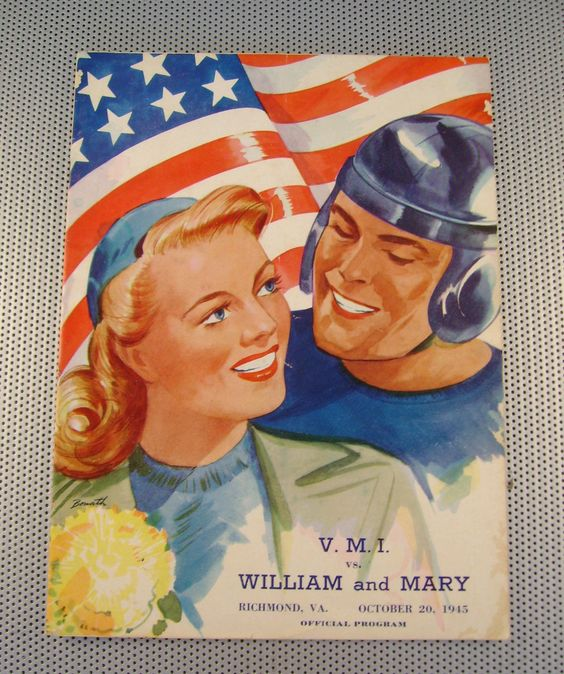 Virginia V M I V William and Mary College Football Official Program Oct 1945 | eBay