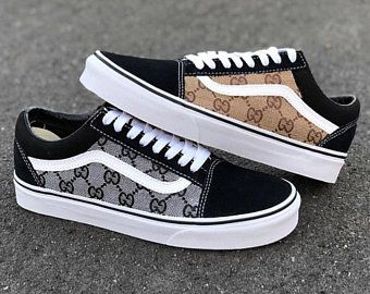Black Brown GG Gucci Old Skool Vans Custom  cb170046c