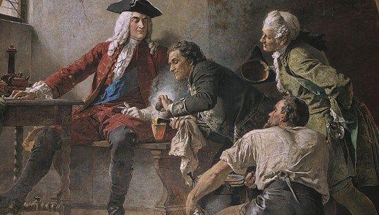 Johann F. Böttger zeigt August dem Starken das Arkanum (Wandgemälde von Paul Kießling)