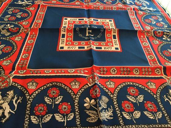 Vintage RARE Silver jubilee scarf, Queen Elizabeth, England, Britain, British, Royalty, Royal souvenir, Buckingham palace, by oodlesofrandomstuff on Etsy
