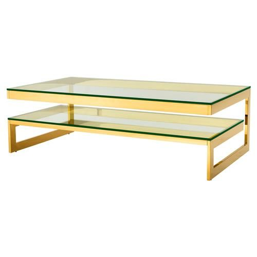 Eichholtz Gamma Modern Classic Rectangular 2 Tier Glass Gold Coffee Table Gold Coffee Table Coffee Table Glass Top Accent Table